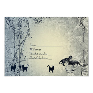 Pale Blue Vintage Shabby Garden Cat RSVP with env 3.5x5 Paper Invitation Card