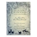 Pale Blue Vintage Shabby Garden Cat Wedding 5x7 Paper Invitation Card