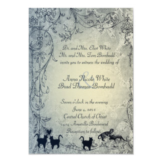 Pale Blue Vintage Shabby Garden Cat Wedding Card