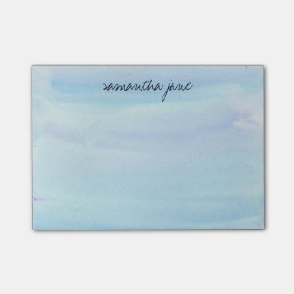 Pale Blue Watercolor Personalized Post-it® Notes