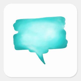 Pale Blue Watercolour Speech Balloon Square Sticker