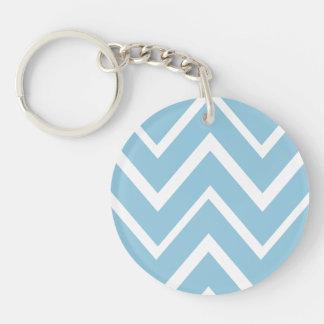 Pale blue whimsical zigzag chevron pattern Single-Sided round acrylic keychain