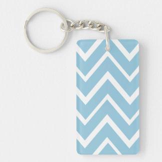 Pale blue whimsical zigzag chevron pattern Single-Sided rectangular acrylic keychain