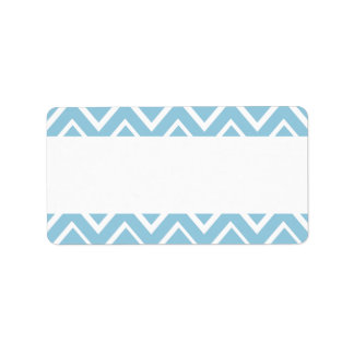Pale blue whimsical zigzag chevron pattern label
