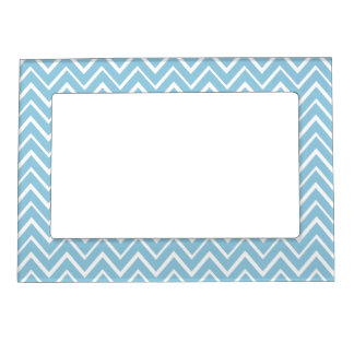 Pale blue whimsical zigzag chevron pattern magnetic picture frame