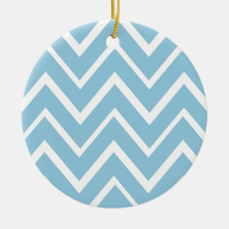 Pale blue whimsical zigzag chevron pattern christmas tree ornaments