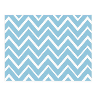 Pale blue whimsical zigzag chevron pattern postcard