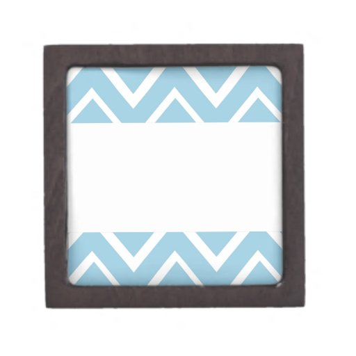Pale blue whimsical zigzag chevron pattern premium trinket box