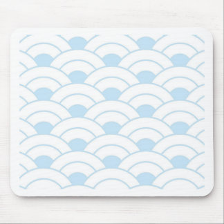 Pale blue,white,art deco, shell pattern, vintage mouse pad