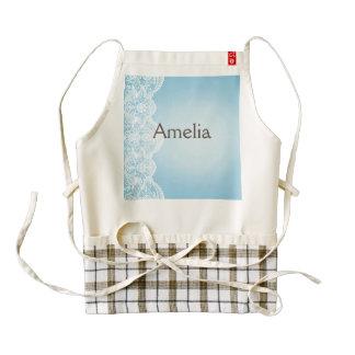 pale blue,white lace,template,add text monogram, zazzle HEART apron
