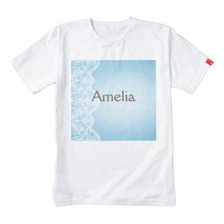 pale blue,white lace,template,add text monogram, zazzle HEART T-Shirt