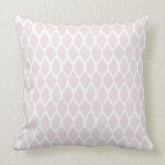 Pale Blush Pink and White Ogee Patterned Pillow