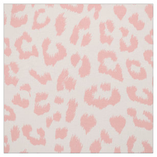 Pale Blush Pink Leopard Print Fabric