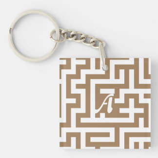 Pale Brown and White Maze Monogram Double-Sided Square Acrylic Keychain