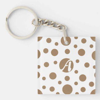 Pale Brown and White Polka Dots Monogram Double-Sided Square Acrylic Keychain