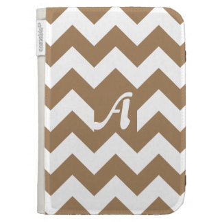 Pale Brown and White Zigzag Monogram Kindle 3 Cover