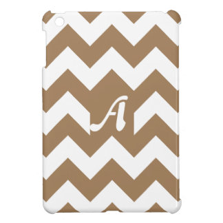 Pale Brown and White Zigzag Monogram iPad Mini Covers