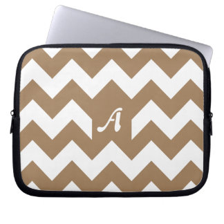 Pale Brown and White Zigzag Monogram Laptop Computer Sleeves
