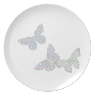 Pale Butterflies Melamine Plate