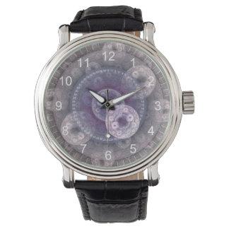 Pale Circular Fractal Watch, Vintage Black Band Wristwatch