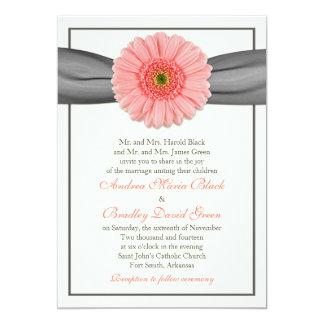 Pale Coral Gerbera Grey Ribbon Wedding Invitation