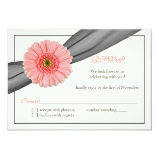Pale Coral Gerbera Grey Ribbon Wedding Reply Card Personalized Announcements