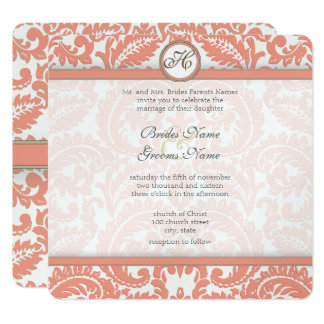Pale Coral Amp Gray Damask Wedding Invitations
