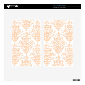 Pale coral Pink and white Elegant Damask Pattern Decals For Kindle Fire