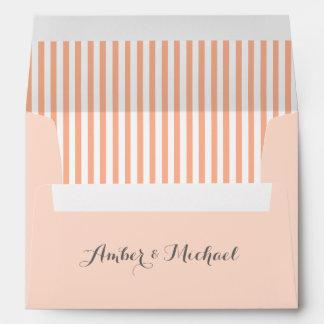 PALE CORAL Striped Damask Invite Envelope V18