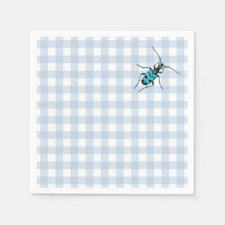 Pale Denim Blue Gingham with Turquoise Beetle Napkin