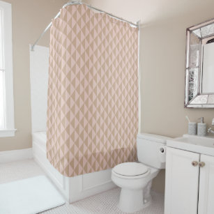 Pale Dogwood Pink And Hazelnut Brown Geometric Shower Curtain