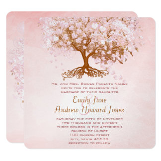 Pale Dogwood Pink Heart Tree Wedding Invitations