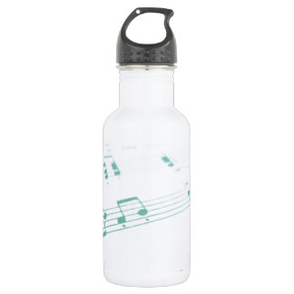 Pale Faded Blue Sheet Music Photography Water Bottle