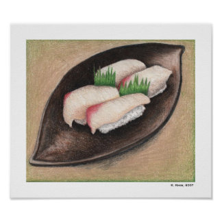 Pale Fish, Brown Plate Poster