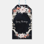 Pale Floral Dark Chalk Elegant Winter Wedding Gift Tags