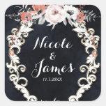 Pale Floral Dark Chalk Elegant Winter Wedding Square Sticker