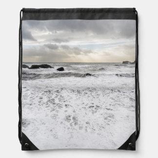 Pale foamy ocean seascape, Iceland Drawstring Bag