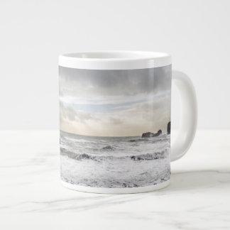 Pale foamy ocean seascape, Iceland Large Coffee Mug
