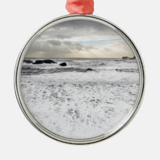 Pale foamy ocean seascape, Iceland Metal Ornament