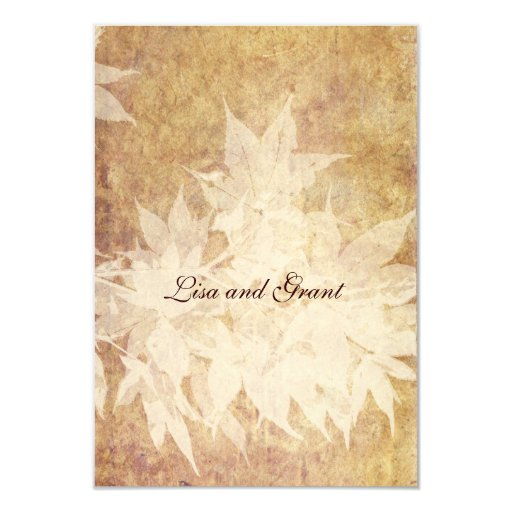 """Pale Ghost Leaves rsvps with envelopes 3.5"""" X 5"""" Invitation Card"""