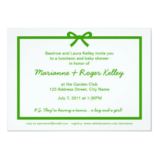 Pale Gingham Green Bow Baby Shower Template Card