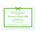 Pale Gingham Green Bow Baby Shower Template Invitations
