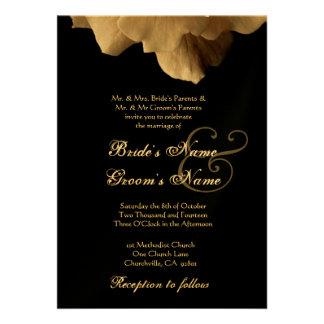 PALE GOLD and Black Rose Wedding Invitation
