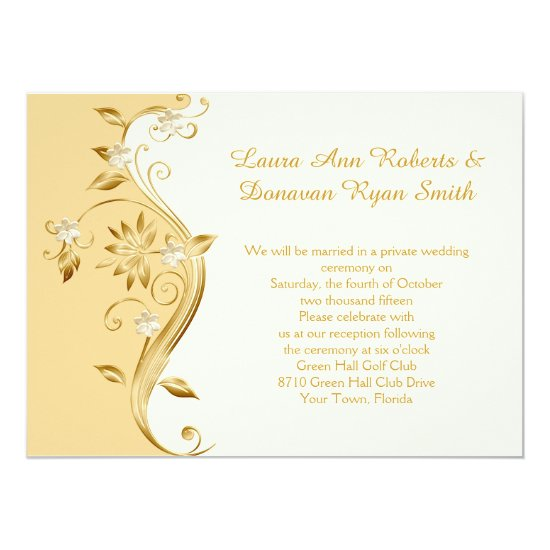 Pale Gold and Ornate Gold Flowers Reception Only Invitation