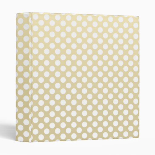 Pale Gold and White Polka Dots Binder