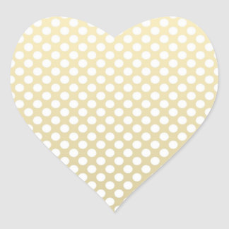 Pale Gold and White Polka Dots Heart Sticker