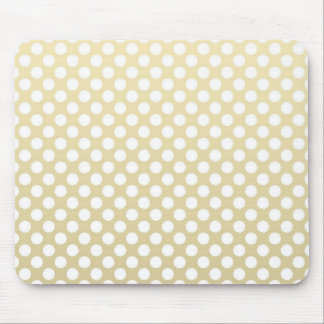 Pale Gold and White Polka Dots Mouse Pad
