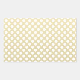Pale Gold and White Polka Dots Rectangular Sticker