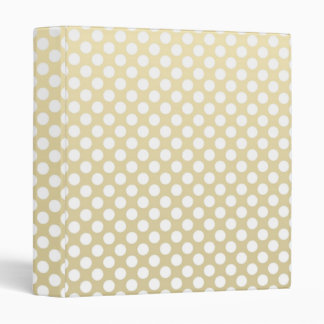 Pale Gold and White Polka Dots Vinyl Binder