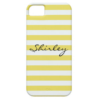 Pale Gold And White Stripes iPhone 5 Covers